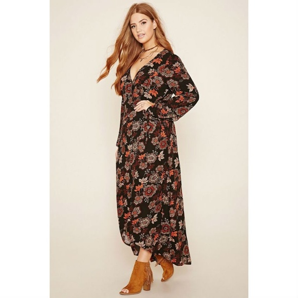 [Forever 21] Plus Size Fall Floral Maxi Wrap Dress